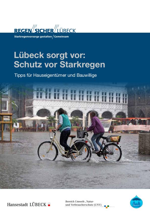 Titelblatt der Broschüre: Lübeck sorgt vor: Schutz vor Starkregen