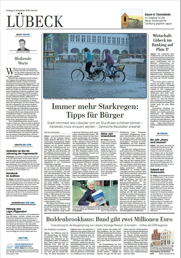 Seite 9 der Lübecker Nachrichten vom 9.11.2018